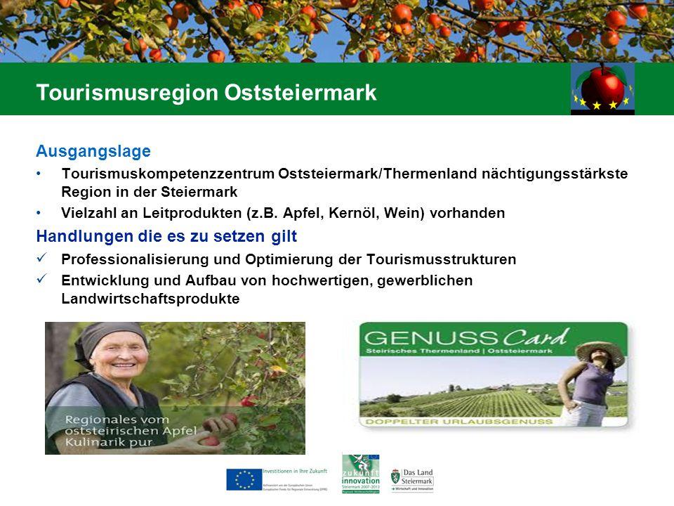 Ausgangslage Tourismuskompetenzzentrum Oststeiermark/Thermenland nächtigungsstärkste Region in der Steiermark Vielzahl an Leitprodukten (z.B. Apfel, K