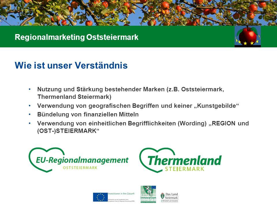 Wie ist unser Verständnis Nutzung und Stärkung bestehender Marken (z.B. Oststeiermark, Thermenland Steiermark) Verwendung von geografischen Begriffen