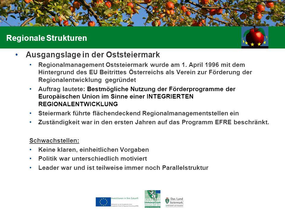 Ausgangslage in der Oststeiermark Regionalmanagement Oststeiermark wurde am 1. April 1996 mit dem Hintergrund des EU Beitrittes Österreichs als Verein