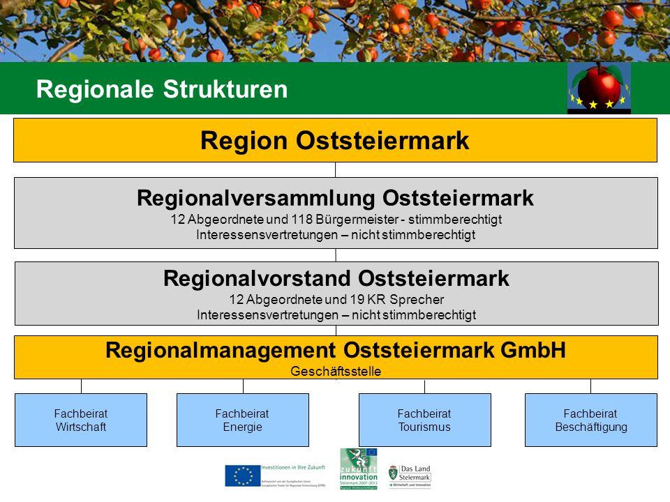 Fachbeirat Energie Region Oststeiermark Regionale Strukturen Fachbeirat Wirtschaft Regionalversammlung Oststeiermark 12 Abgeordnete und 118 Bürgermeis