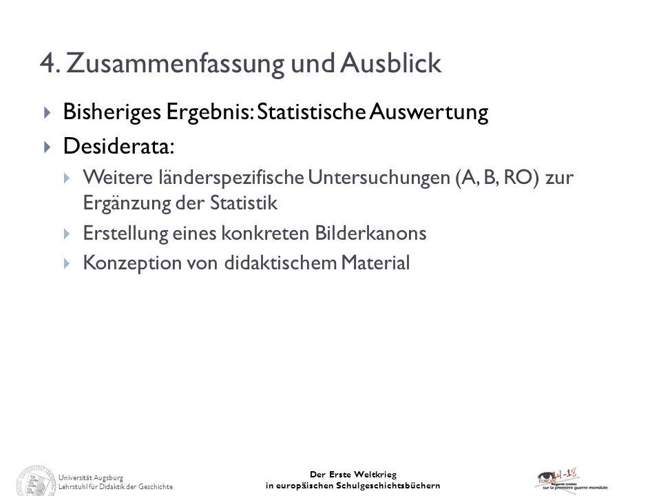 Universität Augsburg Lehrstuhl für Didaktik der Geschichte Der Erste Weltkrieg in europäischen Schulgeschichtsbüchern 4. Zusammenfassung und Ausblick