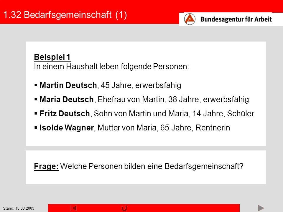 Stand: 18.03.2005 1.32 Bedarfsgemeinschaft (1) Beispiel 1 In einem Haushalt leben folgende Personen: Martin Deutsch, 45 Jahre, erwerbsfähig Maria Deut