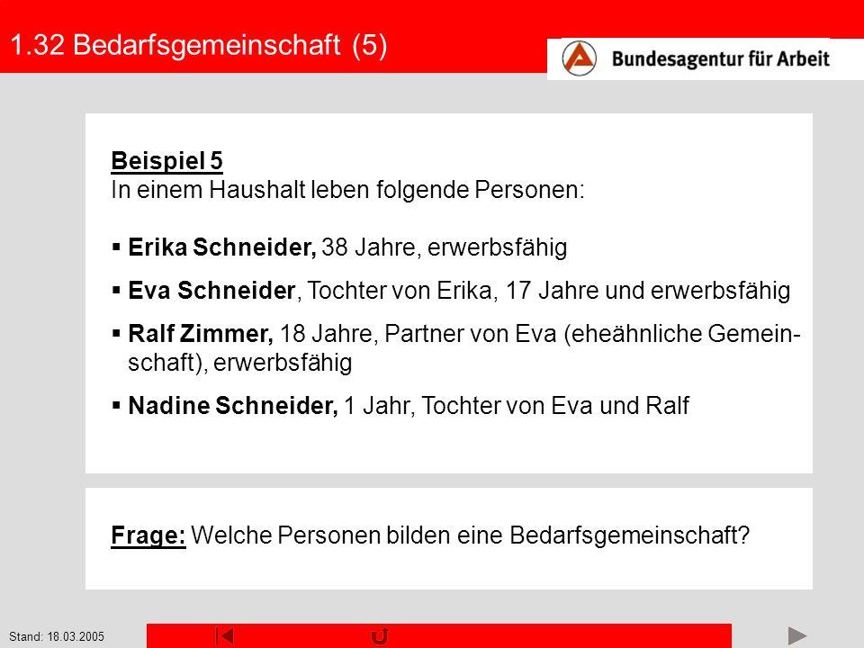 Stand: 18.03.2005 1.32 Bedarfsgemeinschaft (5) Beispiel 5 In einem Haushalt leben folgende Personen: Erika Schneider, 38 Jahre, erwerbsfähig Eva Schne