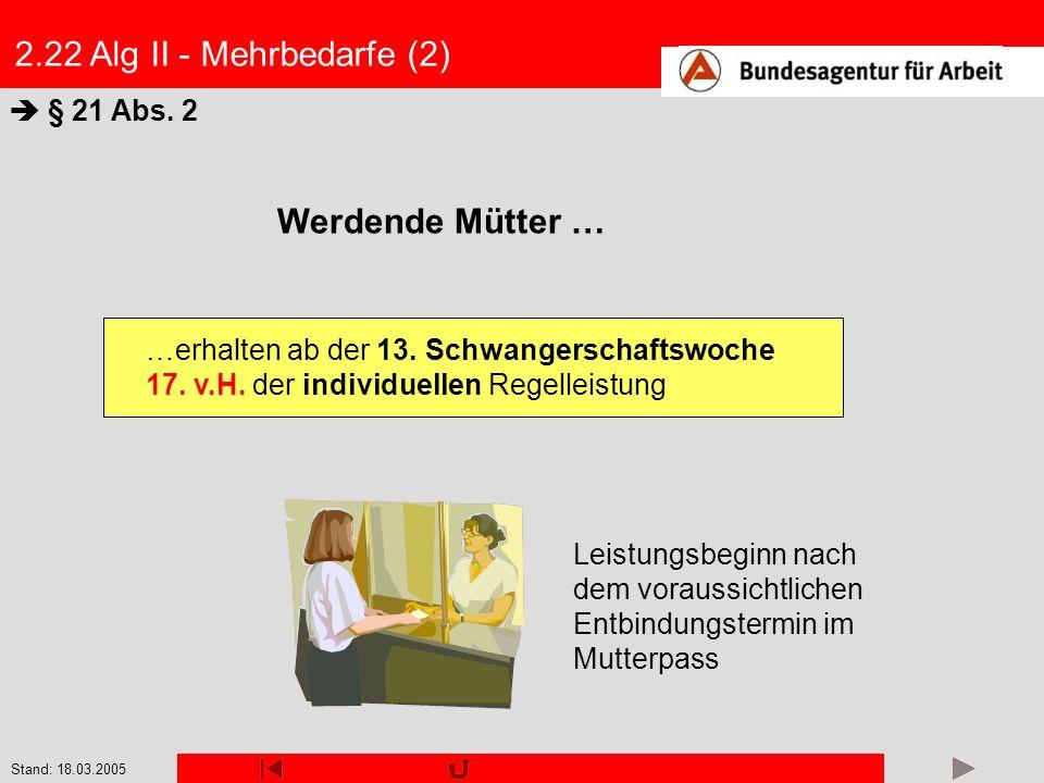 Stand: 18.03.2005 2.22 Alg II - Mehrbedarfe (2) § 21 Abs. 2 Werdende Mütter … Leistungsbeginn nach dem voraussichtlichen Entbindungstermin im Mutterpa