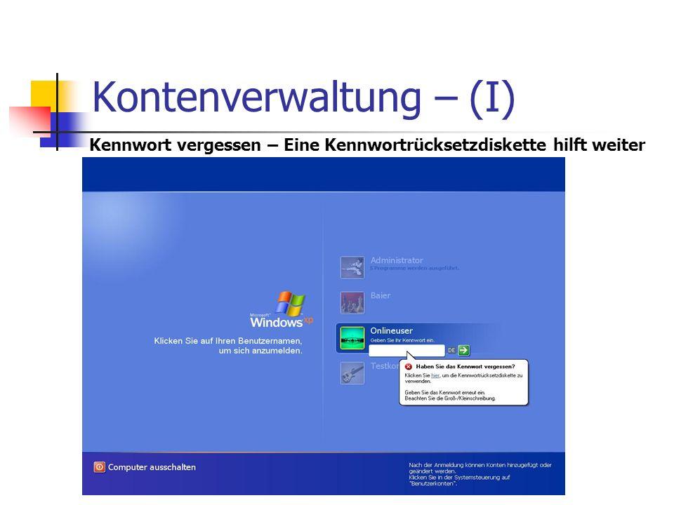 Kontenverwaltung – (I) Kennwort vergessen – Eine Kennwortrücksetzdiskette hilft weiter