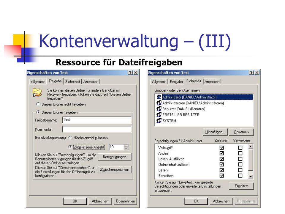 Kontenverwaltung – (III) Ressource für Dateifreigaben