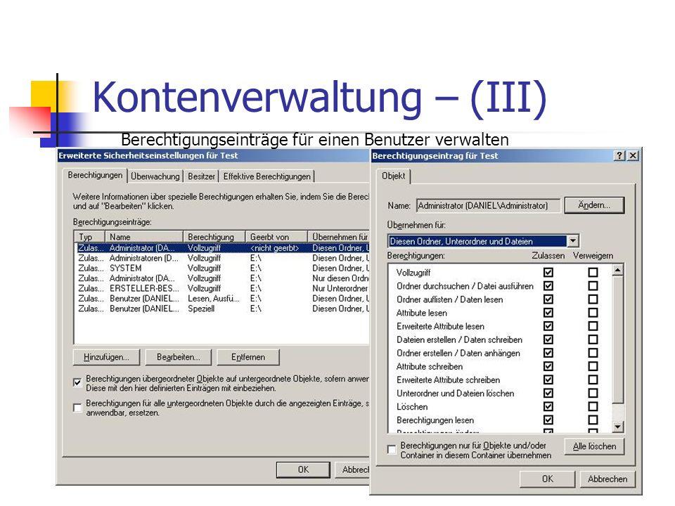 Kontenverwaltung – (III) Berechtigungseinträge für einen Benutzer verwalten