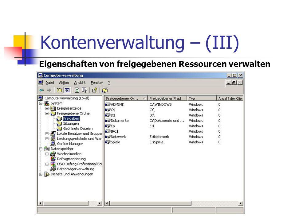 Kontenverwaltung – (III) Eigenschaften von freigegebenen Ressourcen verwalten