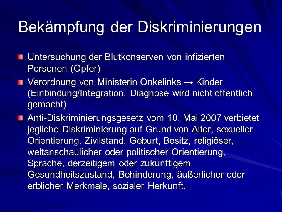 Bekämpfung der Diskriminierungen Untersuchung der Blutkonserven von infizierten Personen (Opfer) Verordnung von Ministerin Onkelinks Kinder (Einbindun