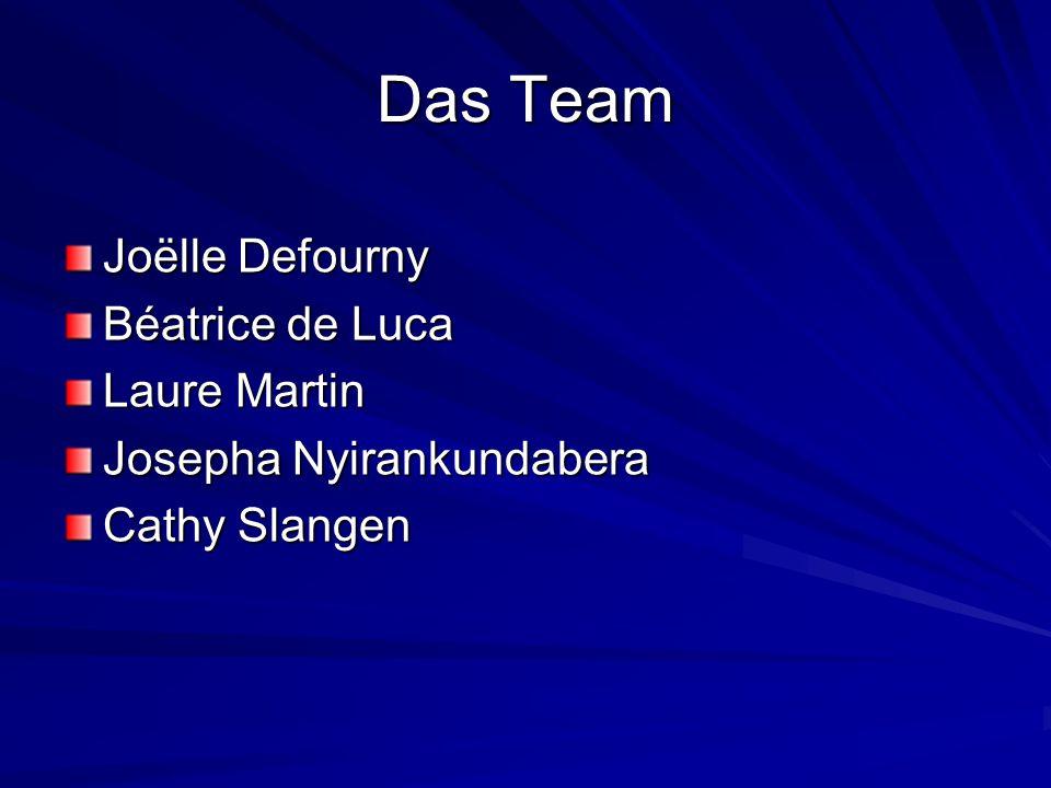 Das Team Joëlle Defourny Béatrice de Luca Laure Martin Josepha Nyirankundabera Cathy Slangen
