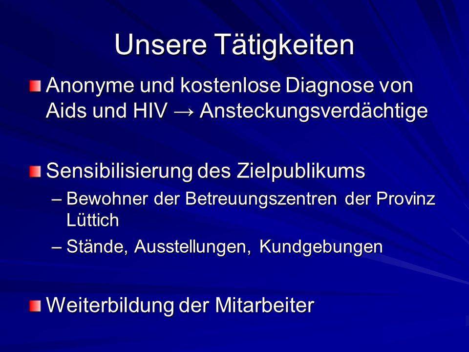 Unsere Tätigkeiten Anonyme und kostenlose Diagnose von Aids und HIV Ansteckungsverdächtige Sensibilisierung des Zielpublikums –Bewohner der Betreuungs
