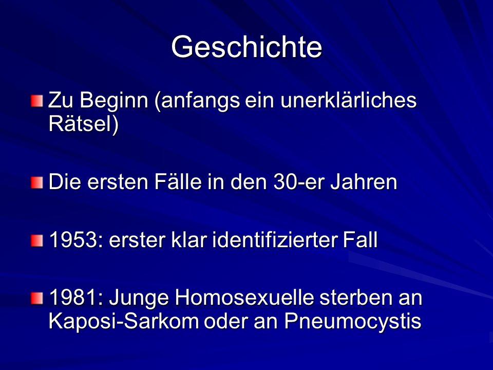 Geschichte Zu Beginn (anfangs ein unerklärliches Rätsel) Die ersten Fälle in den 30-er Jahren 1953: erster klar identifizierter Fall 1981: Junge Homos
