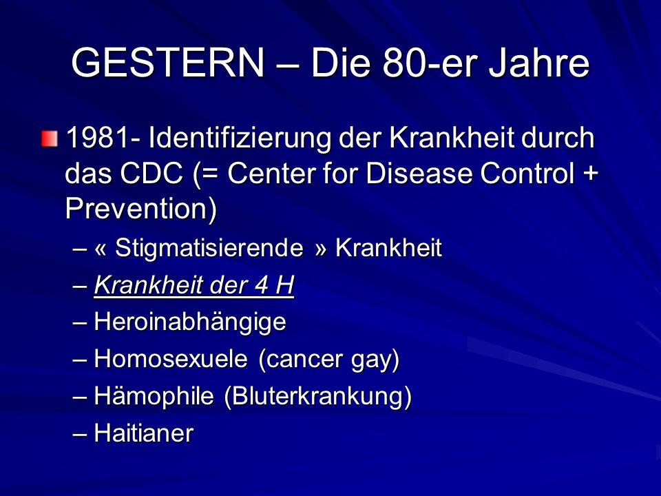 GESTERN – Die 80-er Jahre 1981- Identifizierung der Krankheit durch das CDC (= Center for Disease Control + Prevention) –« Stigmatisierende » Krankhei