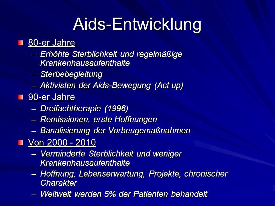Aids-Entwicklung 80-er Jahre –Erhöhte Sterblichkeit und regelmäßige Krankenhausaufenthalte –Sterbebegleitung –Aktivisten der Aids-Bewegung (Act up) 90