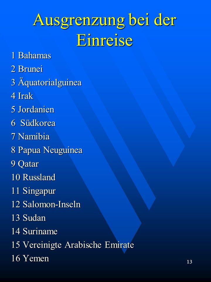 Ausgrenzung bei der Einreise 1 Bahamas 2 Brunei 3 Äquatorialguinea 4 Irak 5 Jordanien 6 Südkorea 7 Namibia 8 Papua Neuguinea 9 Qatar 10 Russland 11 Si