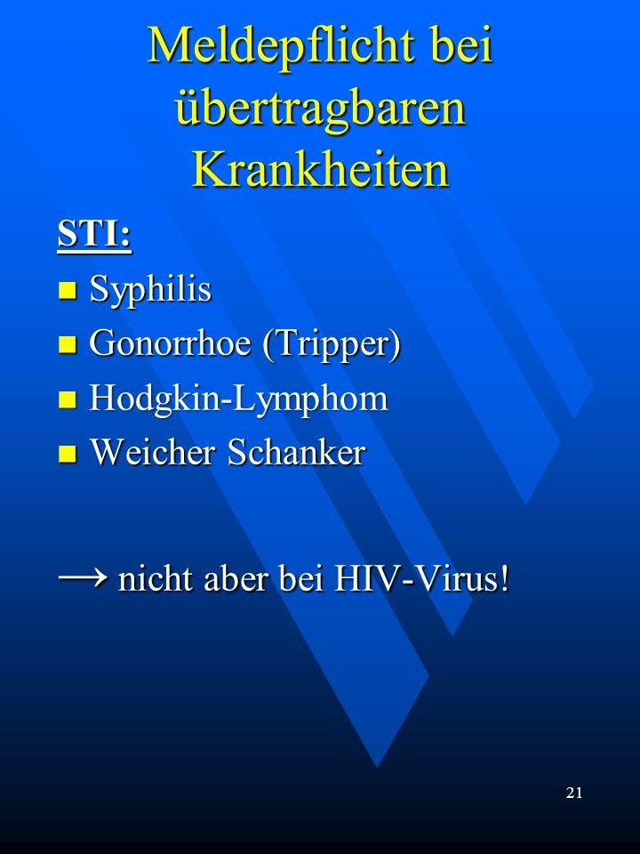 Meldepflicht bei übertragbaren Krankheiten STI: Syphilis Syphilis Gonorrhoe (Tripper) Gonorrhoe (Tripper) Hodgkin-Lymphom Hodgkin-Lymphom Weicher Scha