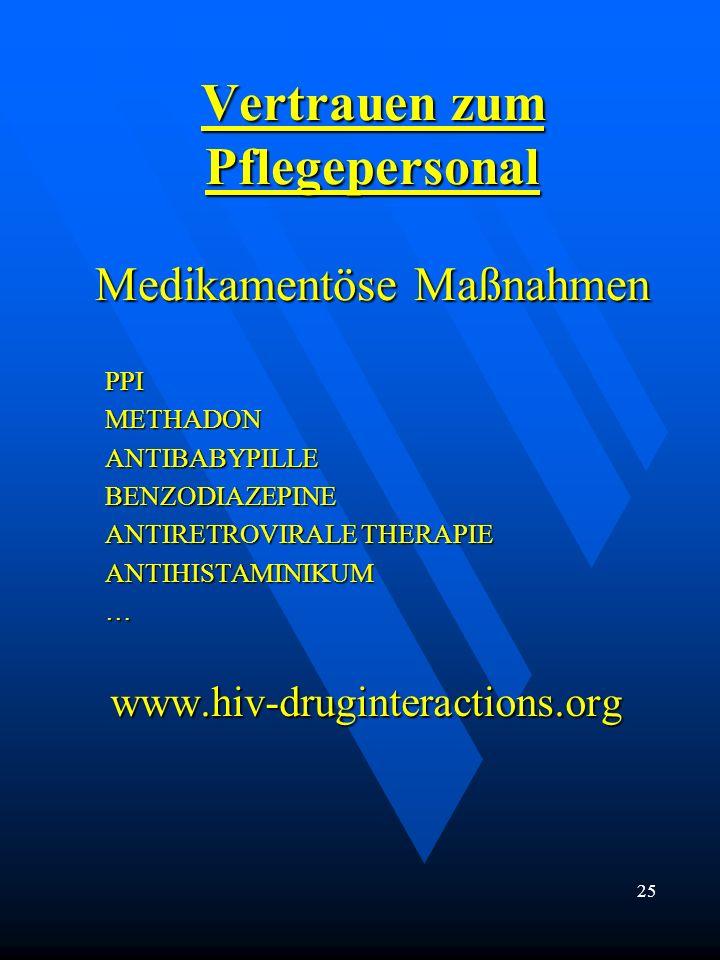 Vertrauen zum Pflegepersonal Medikamentöse Maßnahmen PPIMETHADONANTIBABYPILLEBENZODIAZEPINE ANTIRETROVIRALE THERAPIE ANTIHISTAMINIKUM…www.hiv-druginte