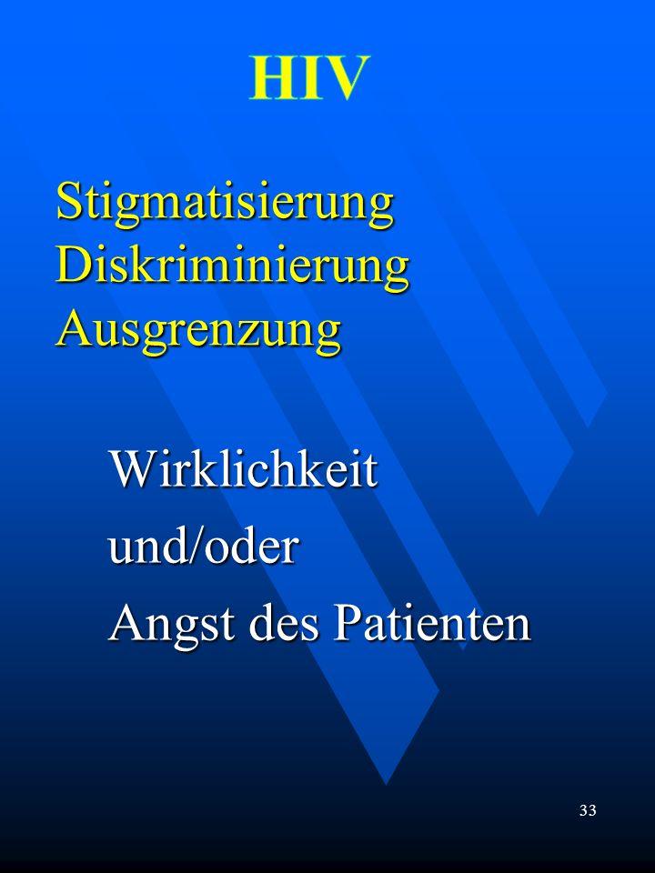 Stigmatisierung Diskriminierung Ausgrenzung Wirklichkeitund/oder Angst des Patienten 33