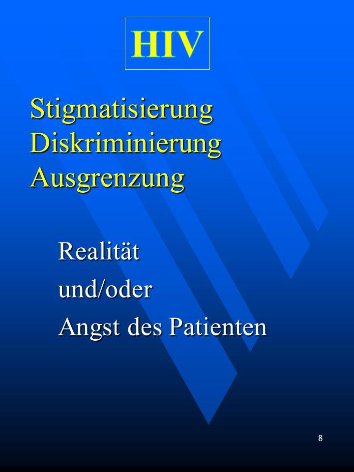 Stigmatisierung Diskriminierung Ausgrenzung Realitätund/oder Angst des Patienten 8