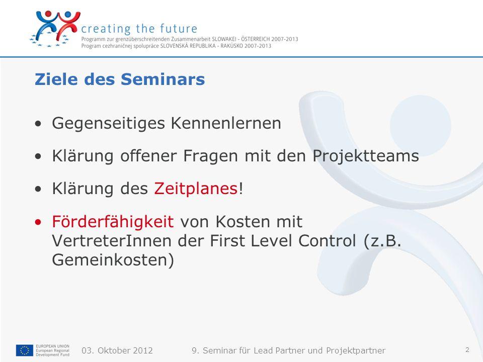 9. Seminar für Lead Partner und Projektpartner 2 Ziele des Seminars Gegenseitiges Kennenlernen Klärung offener Fragen mit den Projektteams Klärung des