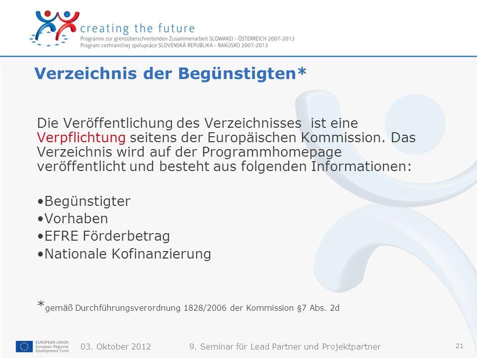 03. Oktober 20129. Seminar für Lead Partner und Projektpartner 21 Verzeichnis der Begünstigten* Die Veröffentlichung des Verzeichnisses ist eine Verpf