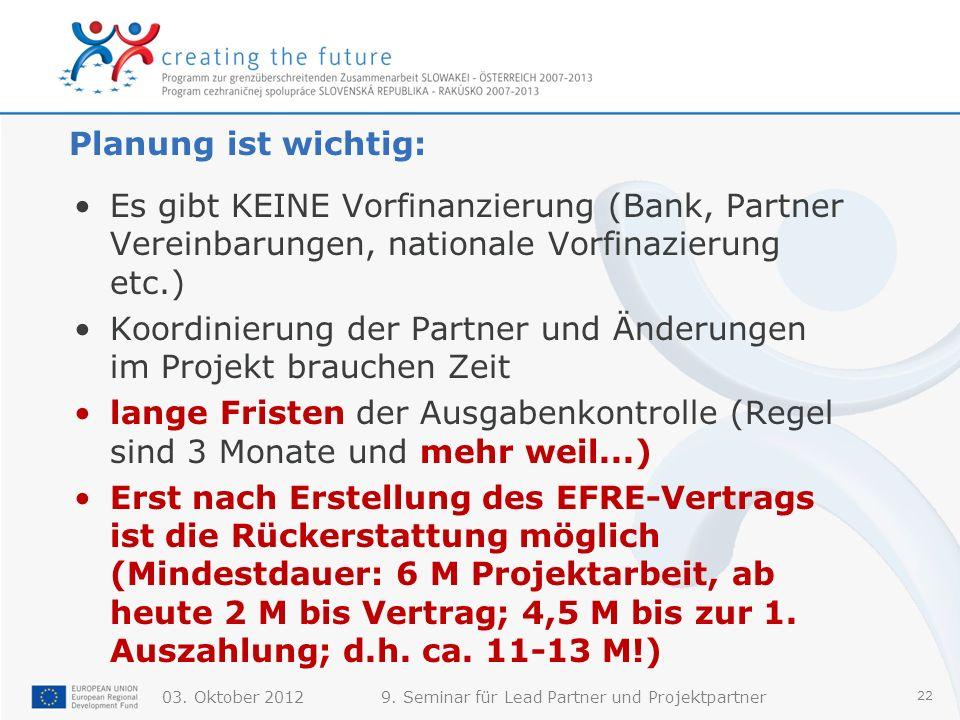 03. Oktober 20129. Seminar für Lead Partner und Projektpartner 22 Planung ist wichtig: Es gibt KEINE Vorfinanzierung (Bank, Partner Vereinbarungen, na