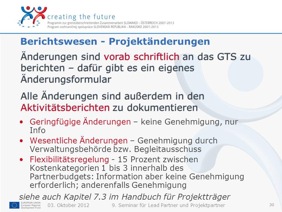03. Oktober 20129. Seminar für Lead Partner und Projektpartner 30 Berichtswesen - Projektänderungen Geringfügige Änderungen – keine Genehmigung, nur I