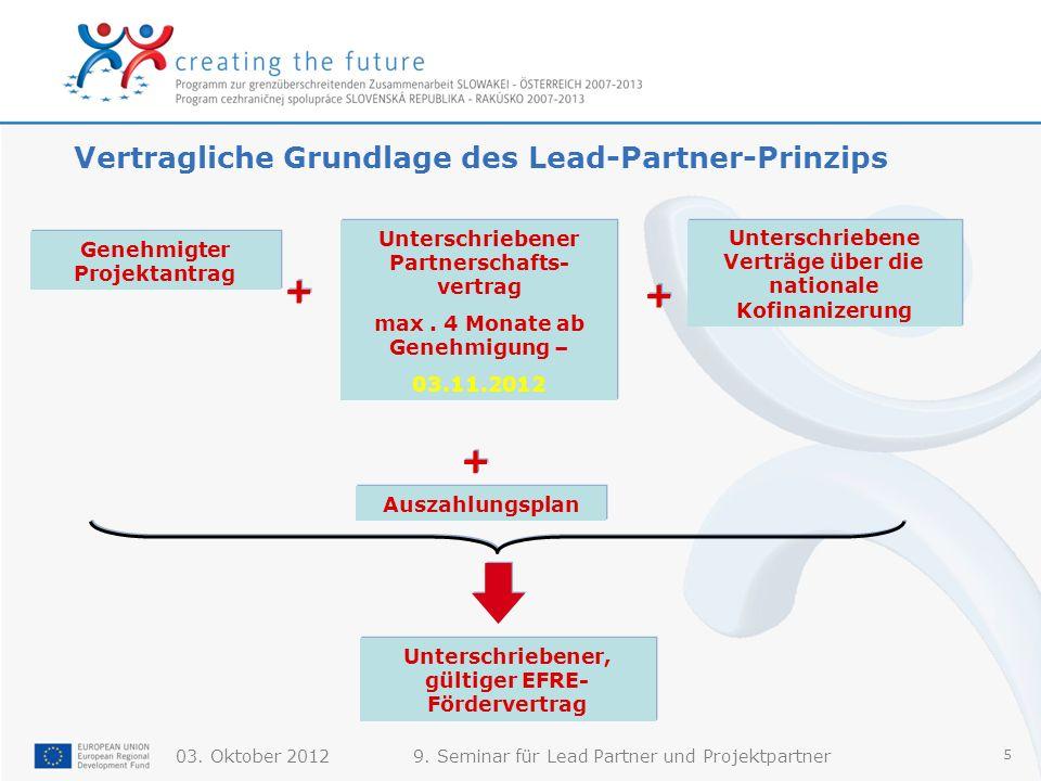 03. Oktober 20129. Seminar für Lead Partner und Projektpartner 5 Vertragliche Grundlage des Lead-Partner-Prinzips Genehmigter Projektantrag + + Unters