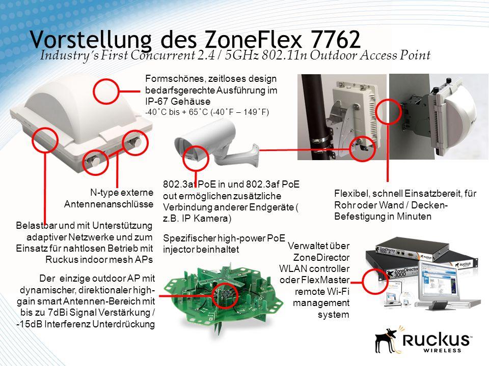 Vorstellung des ZoneFlex 7762 Industrys First Concurrent 2.4 / 5GHz 802.11n Outdoor Access Point N-type externe Antennenanschlüsse 802.3at PoE in und