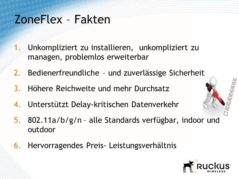 ZoneFlex – Fakten 1.Unkompliziert zu installieren, unkompliziert zu managen, problemlos erweiterbar 2.Bedienerfreundliche – und zuverlässige Sicherhei