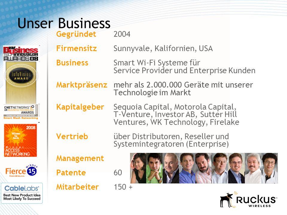 Unser Business Gegründet2004 Firmensitz Sunnyvale, Kalifornien, USA Business Smart Wi-Fi Systeme für Service Provider und Enterprise Kunden Marktpräse