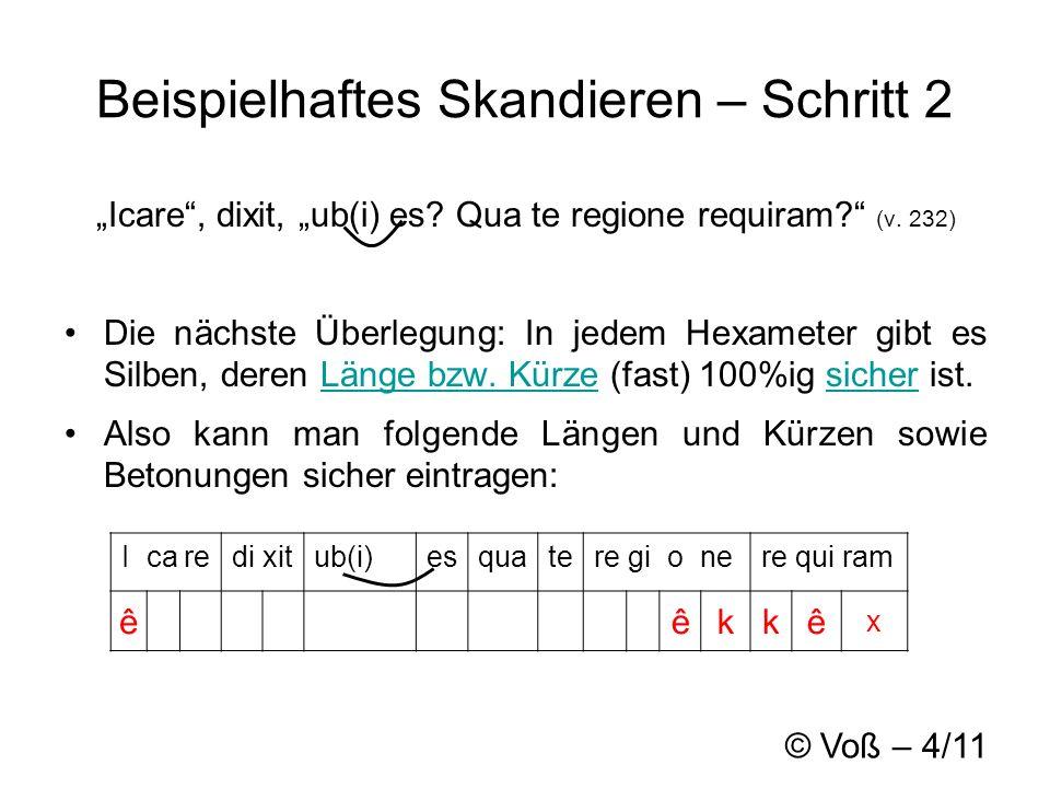 © Voß – 4/11 Beispielhaftes Skandieren – Schritt 2 Icare, dixit, ub(i) es.