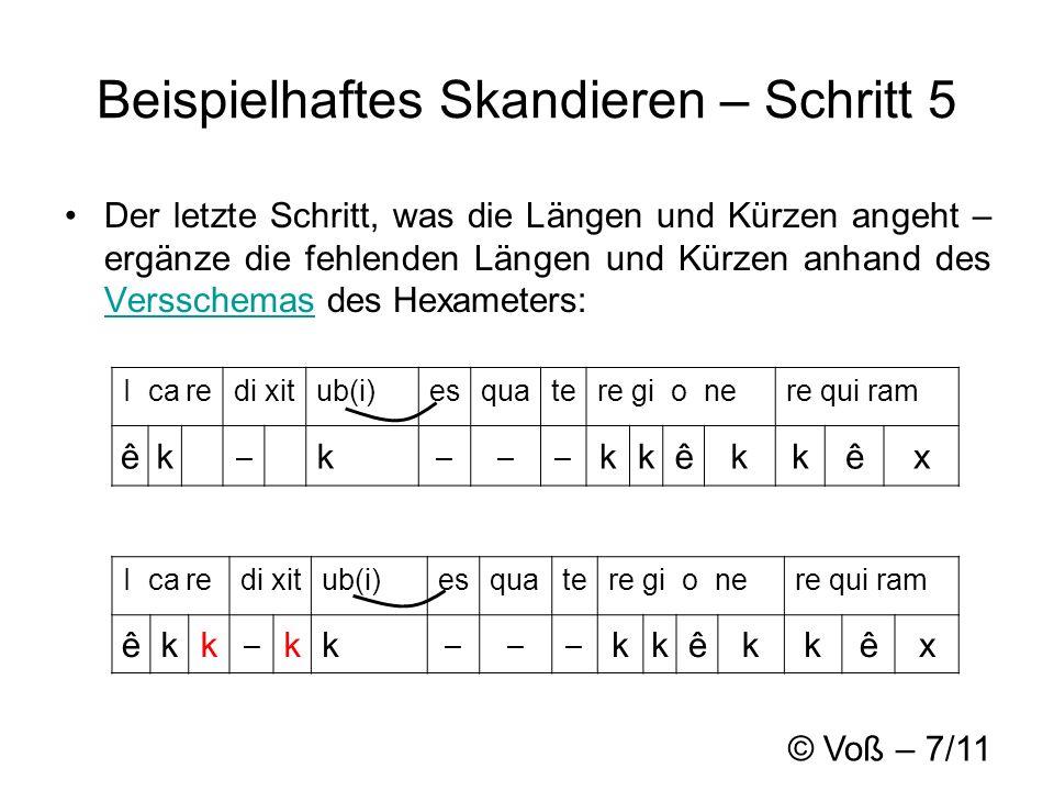 © Voß – 7/11 Beispielhaftes Skandieren – Schritt 5 Der letzte Schritt, was die Längen und Kürzen angeht – ergänze die fehlenden Längen und Kürzen anhand des Versschemas des Hexameters: Versschemas I ca redi xitub(i)esquatere gi o nere qui ram êkk – kk ––– kkêkkêx I ca redi xitub(i)esquatere gi o nere qui ram êk – k ––– kkêkkêx
