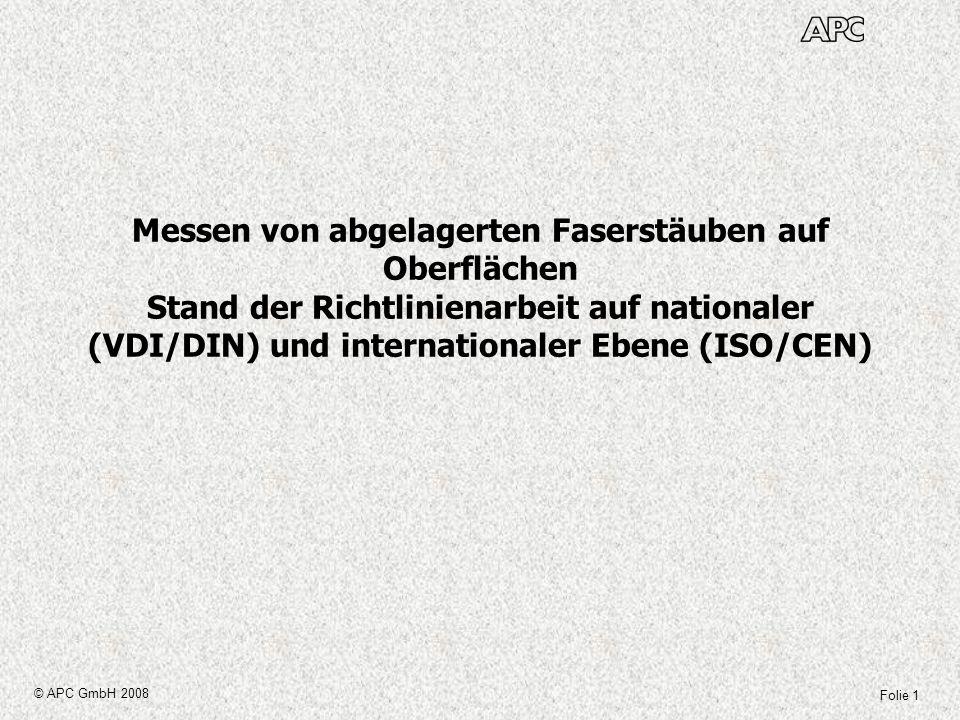 Folie 1 © APC GmbH 2008 Messen von abgelagerten Faserstäuben auf Oberflächen Stand der Richtlinienarbeit auf nationaler (VDI/DIN) und internationaler