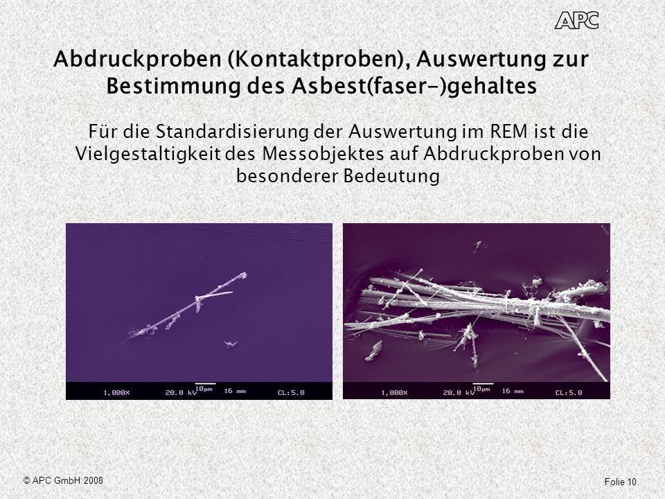 Folie 10 © APC GmbH 2008 Für die Standardisierung der Auswertung im REM ist die Vielgestaltigkeit des Messobjektes auf Abdruckproben von besonderer Be