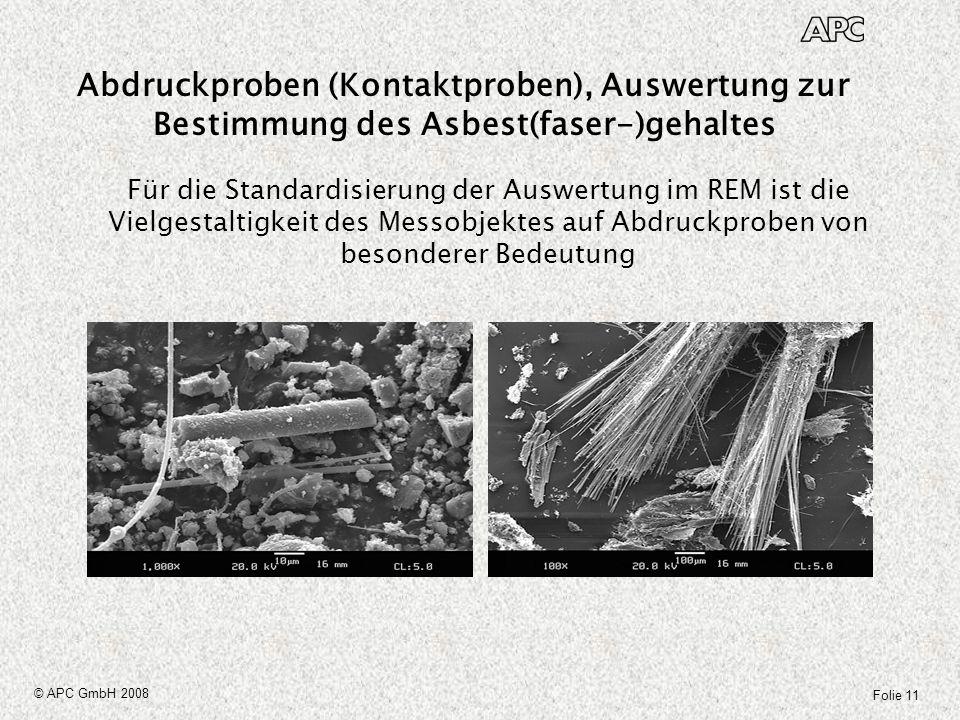 Folie 11 © APC GmbH 2008 Für die Standardisierung der Auswertung im REM ist die Vielgestaltigkeit des Messobjektes auf Abdruckproben von besonderer Be