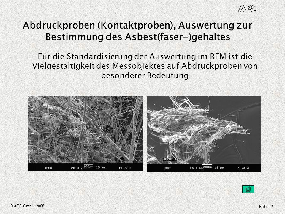 Folie 12 © APC GmbH 2008 Für die Standardisierung der Auswertung im REM ist die Vielgestaltigkeit des Messobjektes auf Abdruckproben von besonderer Be
