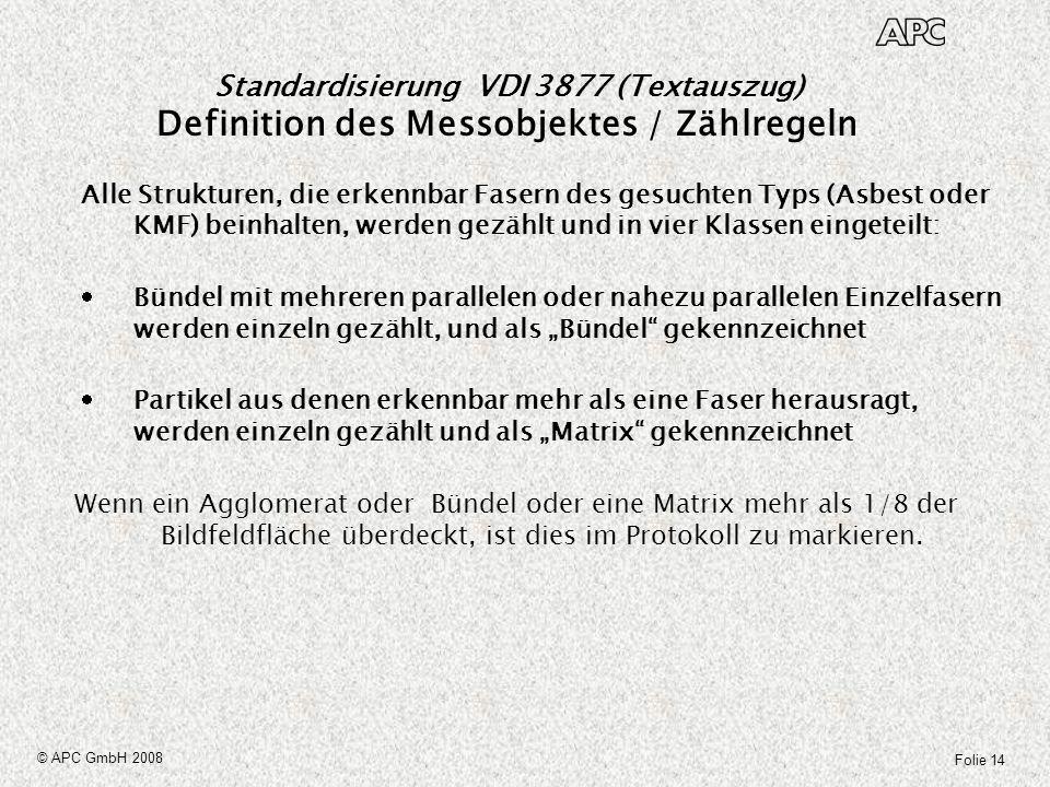 Folie 14 © APC GmbH 2008 Standardisierung VDI 3877 (Textauszug) Definition des Messobjektes / Zählregeln Alle Strukturen, die erkennbar Fasern des ges