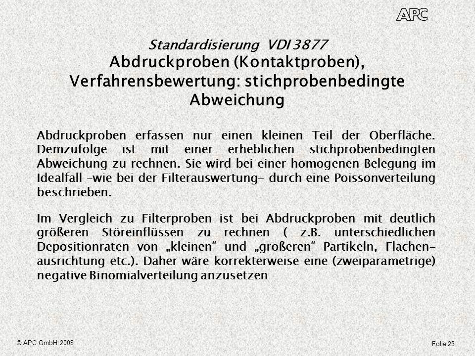 Folie 23 © APC GmbH 2008 Standardisierung VDI 3877 Abdruckproben (Kontaktproben), Verfahrensbewertung: stichprobenbedingte Abweichung Abdruckproben er