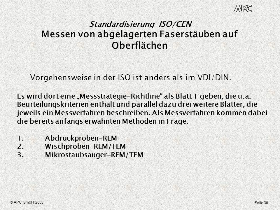 Folie 30 © APC GmbH 2008 Standardisierung ISO/CEN Messen von abgelagerten Faserstäuben auf Oberflächen Es wird dort eine Messstrategie-Richtline als B