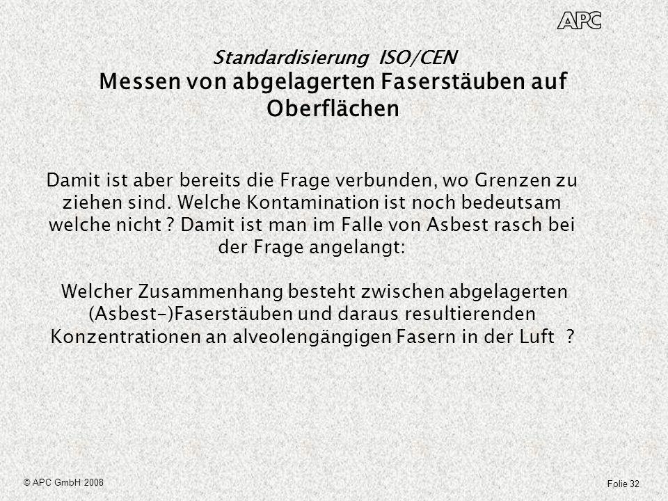 Folie 32 © APC GmbH 2008 Standardisierung ISO/CEN Messen von abgelagerten Faserstäuben auf Oberflächen Damit ist aber bereits die Frage verbunden, wo
