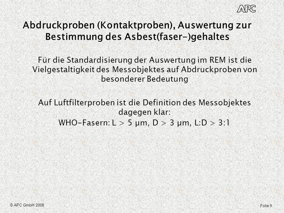 Folie 30 © APC GmbH 2008 Standardisierung ISO/CEN Messen von abgelagerten Faserstäuben auf Oberflächen Es wird dort eine Messstrategie-Richtline als Blatt 1 geben, die u.a.