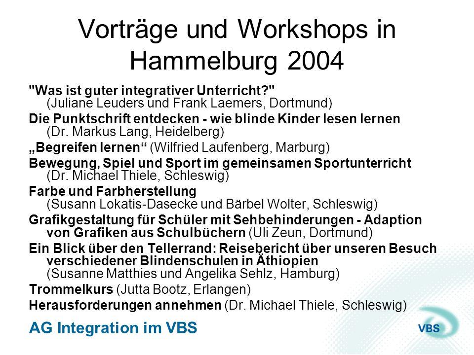 AG Integration im VBS Vorträge und Workshops in Graz 2004 Integration sehbehinderter und blinder Kinder in Österreich – ein Blick in die Bundesländer (Moderation: Jörg Martin Willnauer) Social Inclusion (Marjana Buultjens und Frank Laemers) Intelligent & inkompetent.