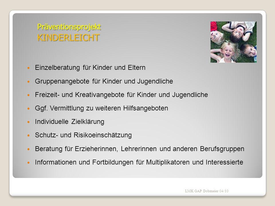 Schutzfaktoren: Umfeld soziale Unterstützung positive Freundschaftsbeziehungen positive Schulerfahrungen stabile Lebensbedingungen LMK GAP Dobmeier 04