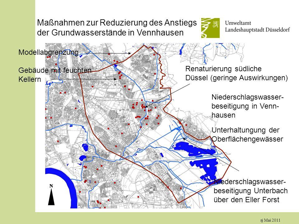rj Mai 2011 Maßnahmen zur Reduzierung des Anstiegs der Grundwasserstände in Vennhausen Modellabgrenzung Gebäude mit feuchten Kellern Renaturierung südliche Düssel (geringe Auswirkungen) Niederschlagswasser- beseitigung Unterbach über den Eller Forst Niederschlagswasser- beseitigung in Venn- hausen Unterhaltungung der Oberflächengewässer