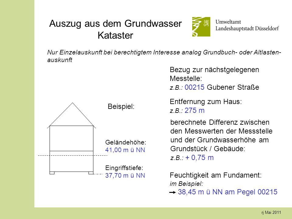 rj Mai 2011 Geländehöhe: 41,00 m ü NN Auszug aus dem Grundwasser Kataster Beispiel: Bezug zur nächstgelegenen Messtelle: z.B.: 00215 Gubener Straße En