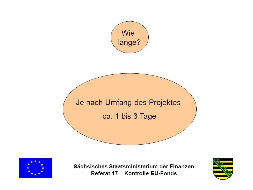 Sächsisches Staatsministerium der Finanzen Referat 17 – Kontrolle EU-Fonds Wie lange.
