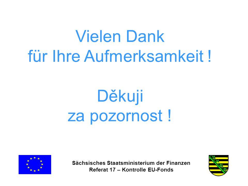 Sächsisches Staatsministerium der Finanzen Referat 17 – Kontrolle EU-Fonds Vielen Dank für Ihre Aufmerksamkeit .