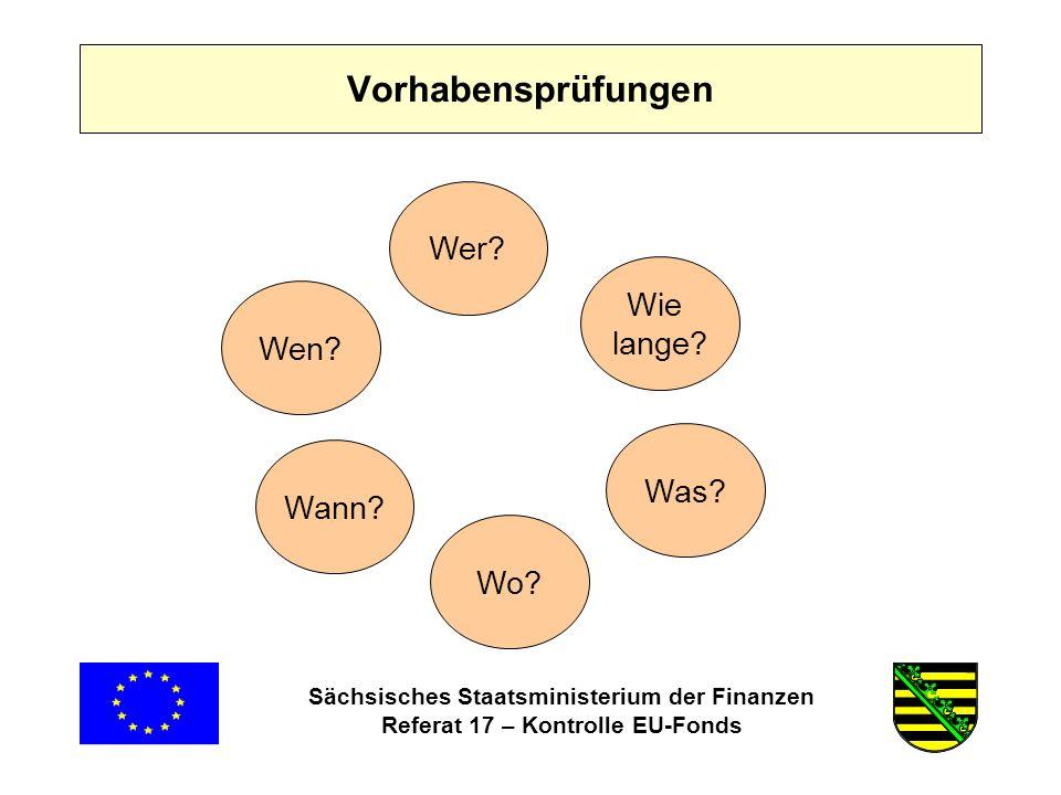 Sächsisches Staatsministerium der Finanzen Referat 17 – Kontrolle EU-Fonds Wer.