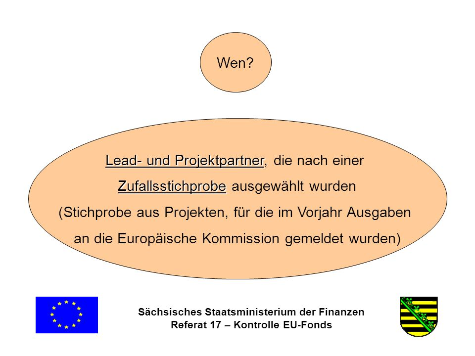 Sächsisches Staatsministerium der Finanzen Referat 17 – Kontrolle EU-Fonds Wen.